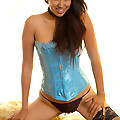 Jade Cheng in blue corset